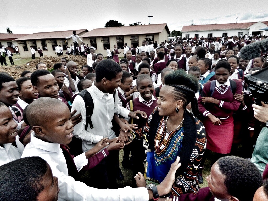 Toya Delazy at Giba High School - Photo credit Saving the Wild